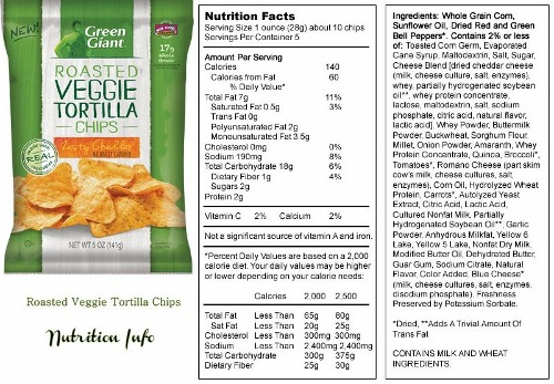 green giant veggie chips nutrition info
