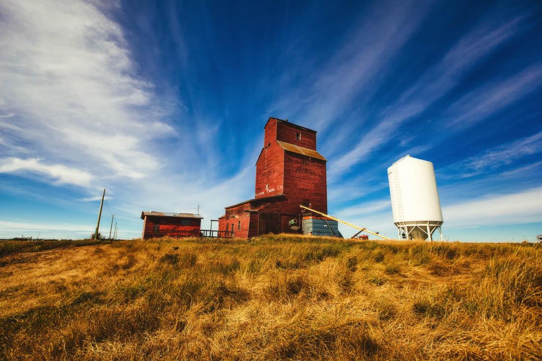 Killearn Farms Ltd. elevator in Shonts, Rural Alberta. Alberta agriculture landscape.