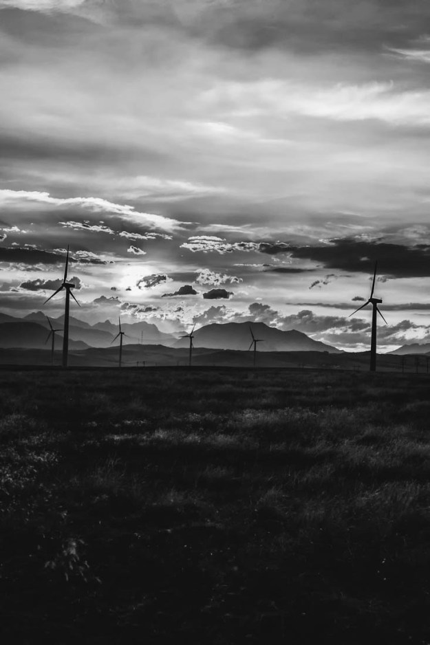 Pincher Creek, Rural Alberta wind farms, Southern Alberta prairies, with a Canadian Rockies backdrop, at sunset during late summer. Alberta landscape.