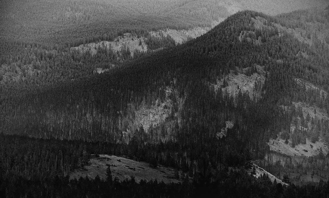 Black and white closeup on a mountain range in Jasper National Park.