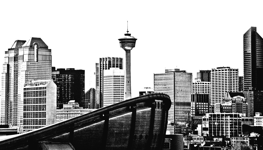 The Calgary skyline, photographed November 2007, featuring the Calgary Tower and Saddledome.