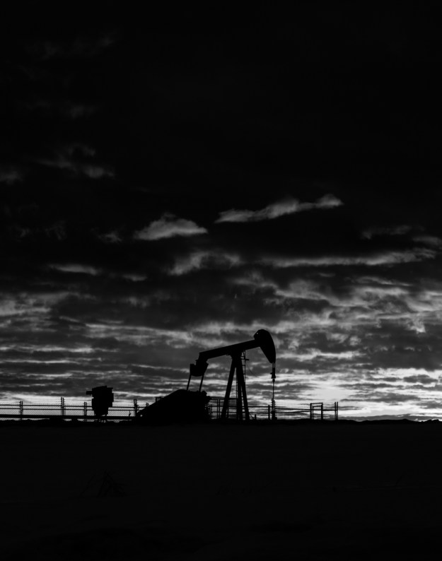 Winter pumpjack sunrise on the Alberta prairies, Alberta Oil and Gas, Alberta landscape.