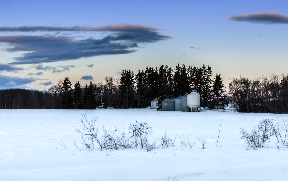Winter dawn over a farm in Parkland County, rural Alberta. Sidney Blake Photography. No. AD3R1826.