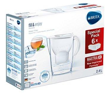 BRITA Wasserfilter Marella weiß inkl. 6 MAXTRA+ Filterkartuschen – BRITA Filter Halbjahrespaket zur Reduzierung von Kalk, Chlor & geschmacksstörenden Stoffen im Wasser - 2