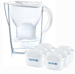 BRITA Wasserfilter Marella weiß inkl. 6 MAXTRA+ Filterkartuschen – BRITA Filter Halbjahrespaket zur Reduzierung von Kalk, Chlor & geschmacksstörenden Stoffen im Wasser - 1