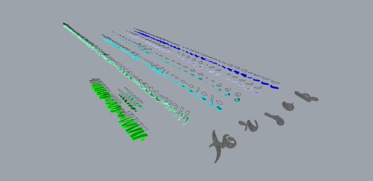 3D model split up into pieces