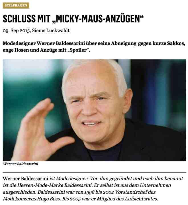 Was Mann trägt: Werner Baldessarini (für Capital.de)