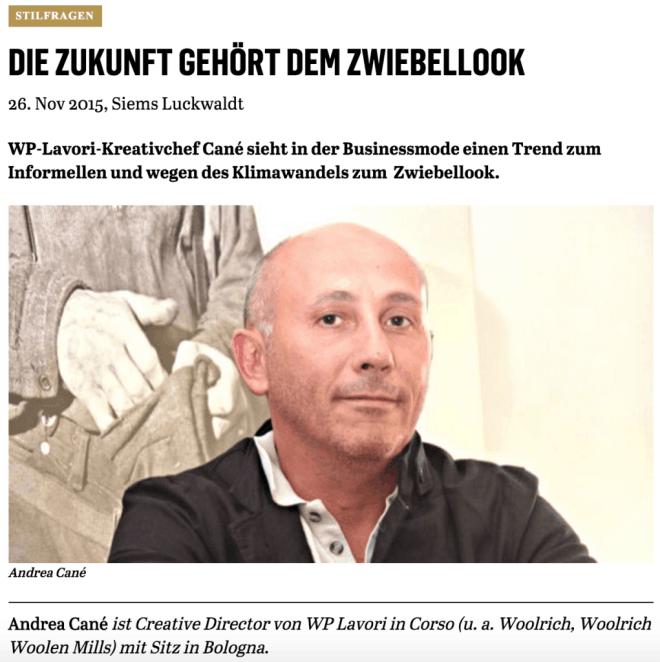 Was Mann trägt: Andrea Canè, Woolrich (für Capital.de)
