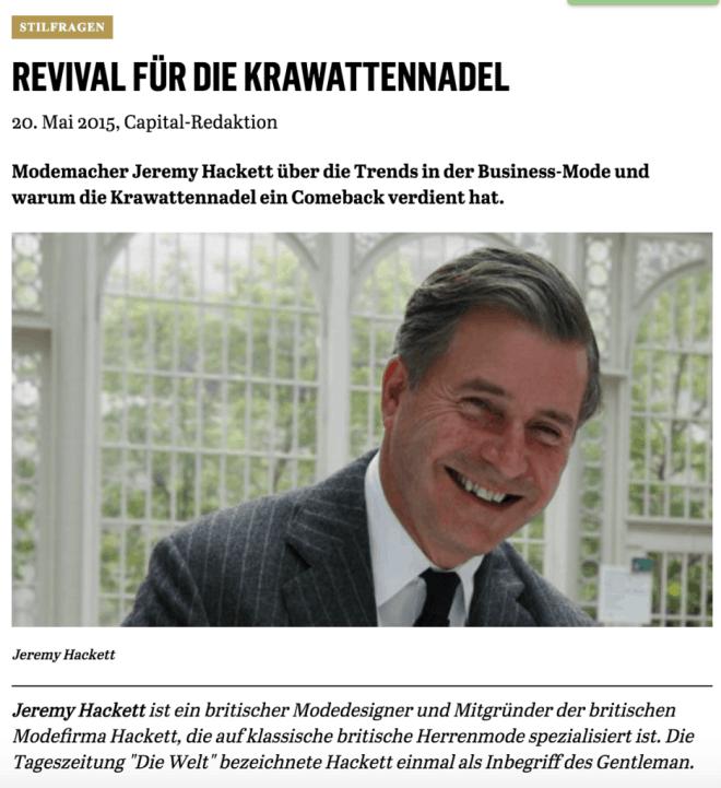 Was Mann trägt: Jeremy Hackett (für Capital.de)