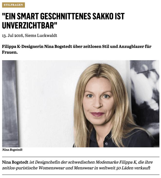 Was Mann/Frau trägt: Nina Bogstedt, Filippa K (für Capital.de)