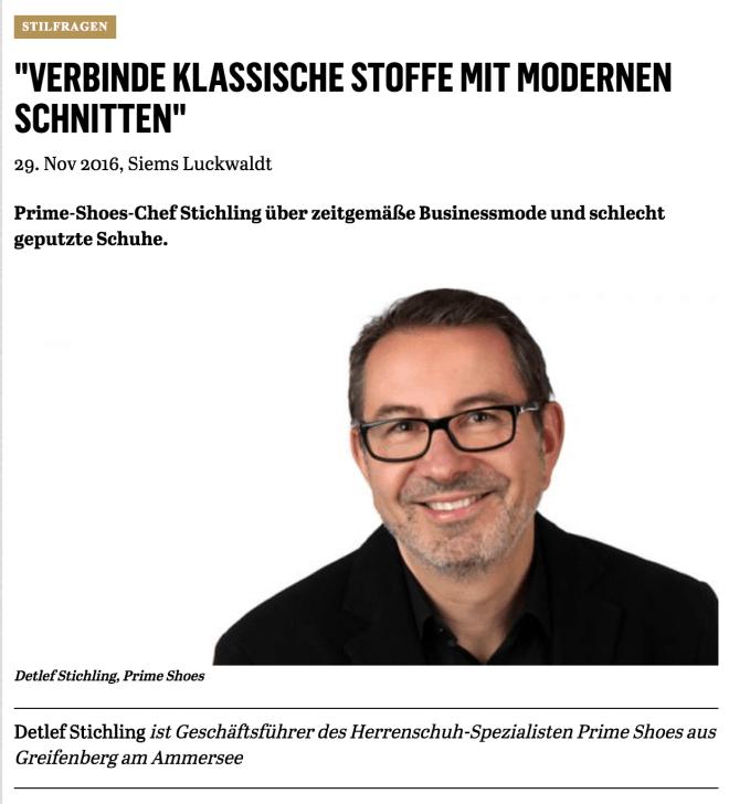 Was Mann trägt: Detlef Stichling, Prime Shoes (für Capital.de)