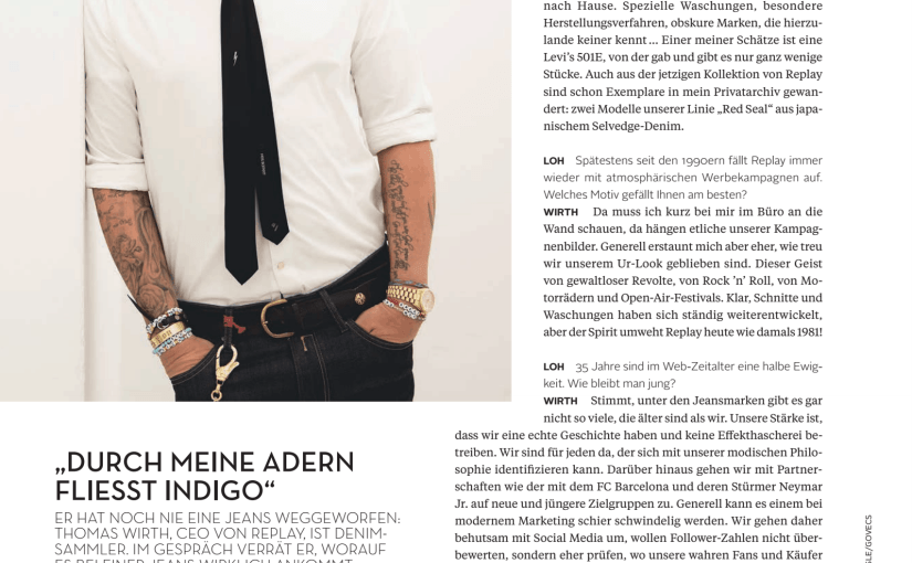 Interview: Thomas Wirth, Replay (für L'Officiel Hommes)