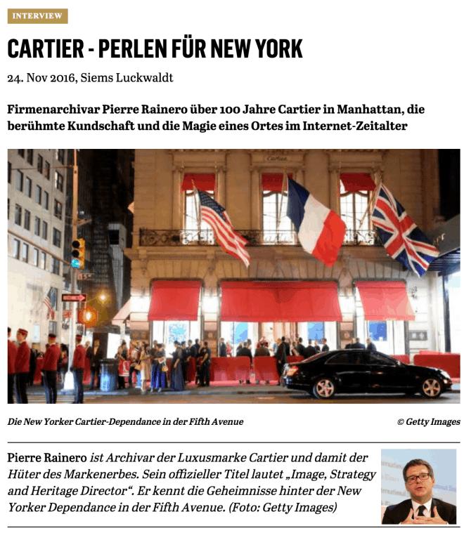 Interview: Pierre Rainero, Cartier (für Capital)