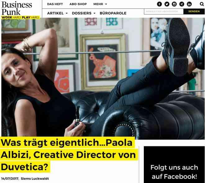 Was trägt eigentlich Paola Albizi, Duvetica (für Business-Punk.com)