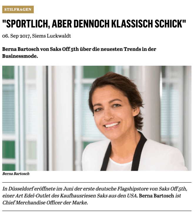 Was Mann trägt: Berna Bartosch, Saks Off 5th (für Capital.de)