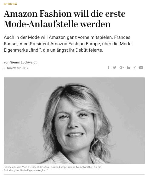 Interview: Frances Russel, Amazon Fashion (für Capital.de)
