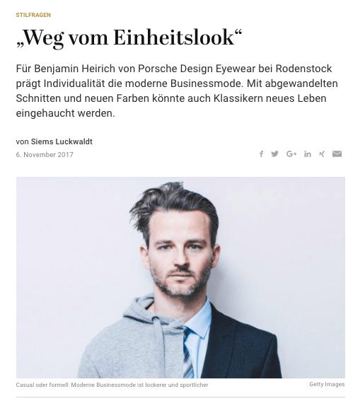 Was Mann trägt: Benjamin Heirich, Porsche Design Eyewear (für Capital.de)