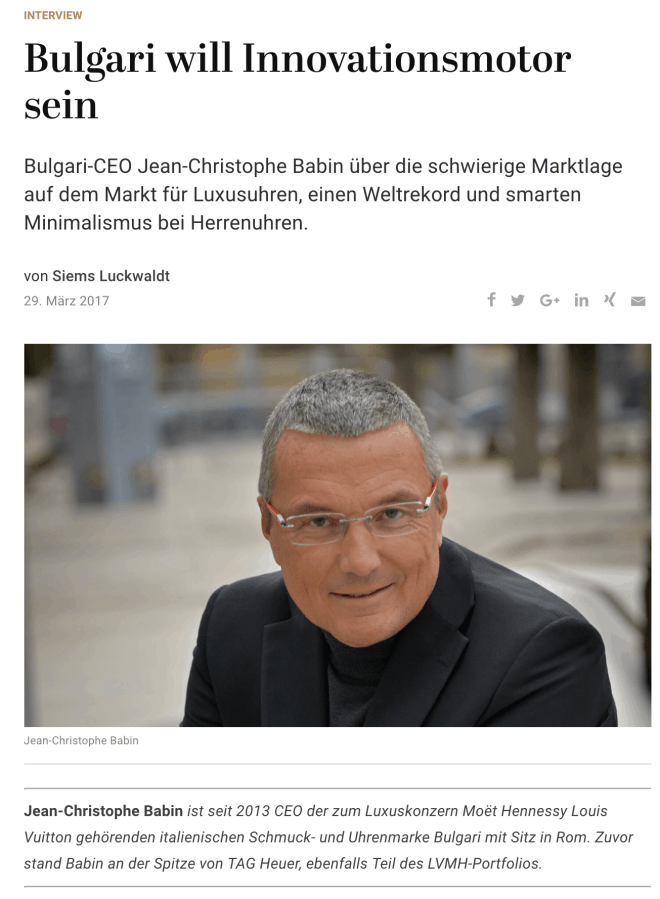 Interview: Jean-Christophe Babin, Bulgari (für Capital.de)