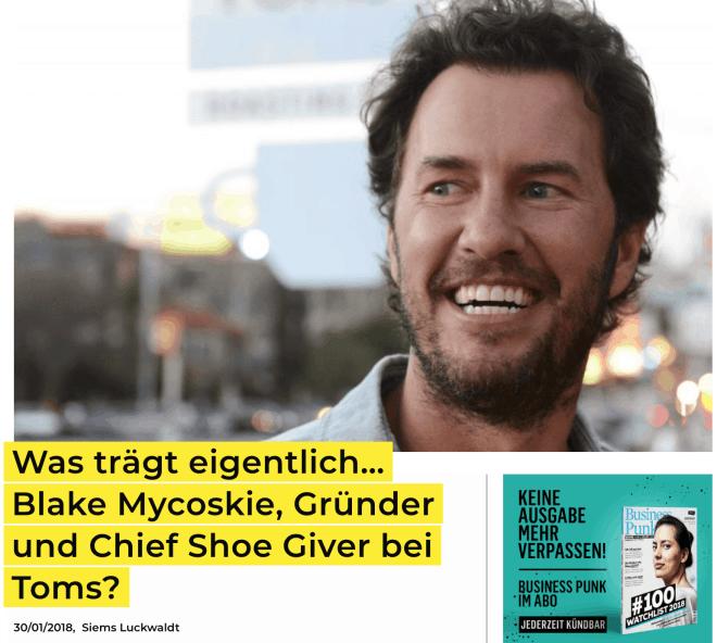 Was trägt eigentlich: Blake Mycoskie, Toms (für Business-Punk.com)