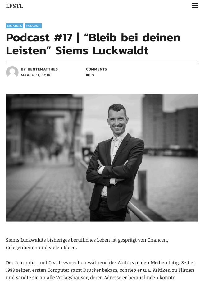 In eigener Sache: Podcast-Interview mit mir (auf lfstl.de)