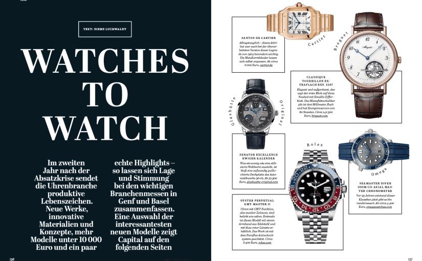 Watches to Watch (für Capital)
