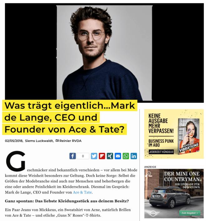 Was trägt eigentlich: Mark de Lange, CEO und Founder von Ace & Tate? (Business-Punk.com)
