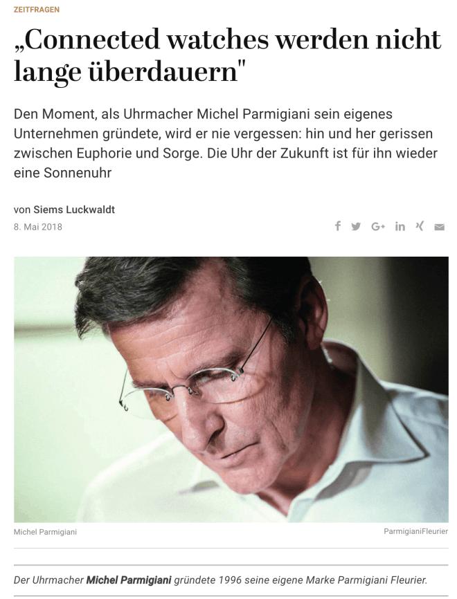 Zeitfragen: Michel Parmigiani, Parmigiani Fleurier (für Capital.de)