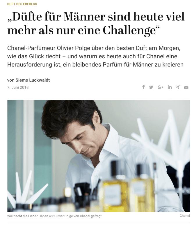 Duft des Erfolgs: Olivier Polge, Chanel (für Capital.de)