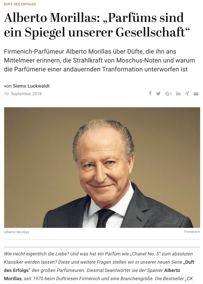 Duft des Erfolgs: Alberto Morillas (für Capital.de)