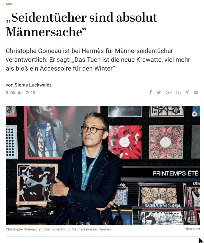 Christophe Goineau: Seide ist Männersache (für Capital.de)