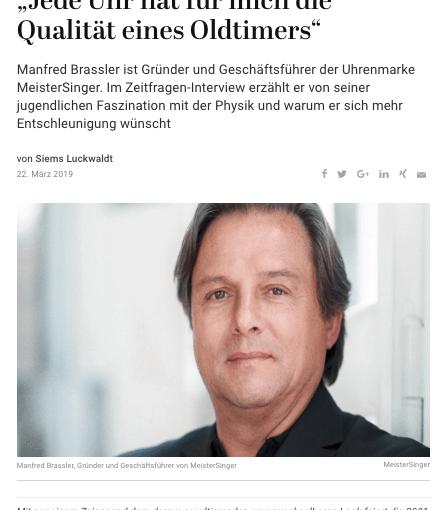 Zeitfragen: Manfred Brassler, MeisterSinger (für Capital.de)