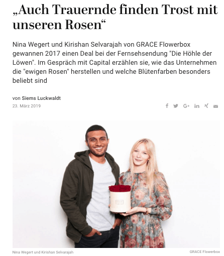 Interview: Nina Wegert und Kirishan Selvarajah, Grace Flowerbox (für Capital.de)