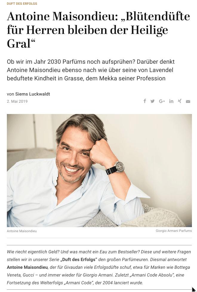 Duft des Erfolgs: Antoine Maisondieu, Givaudan (für Capital.de)