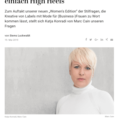 Stilfragen – Women's Edition: Katja Konradi, Marc Cain (für Capital.de)