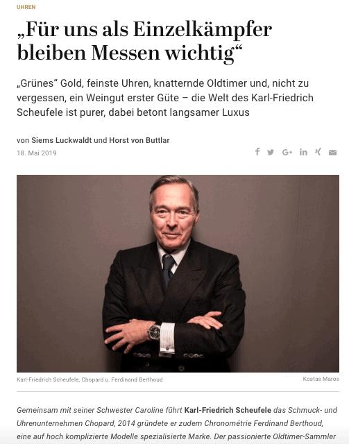 Interview: Karl-Friedrich Scheufele, Chopard u. Ferdinand Berthoud (für Capital.de)