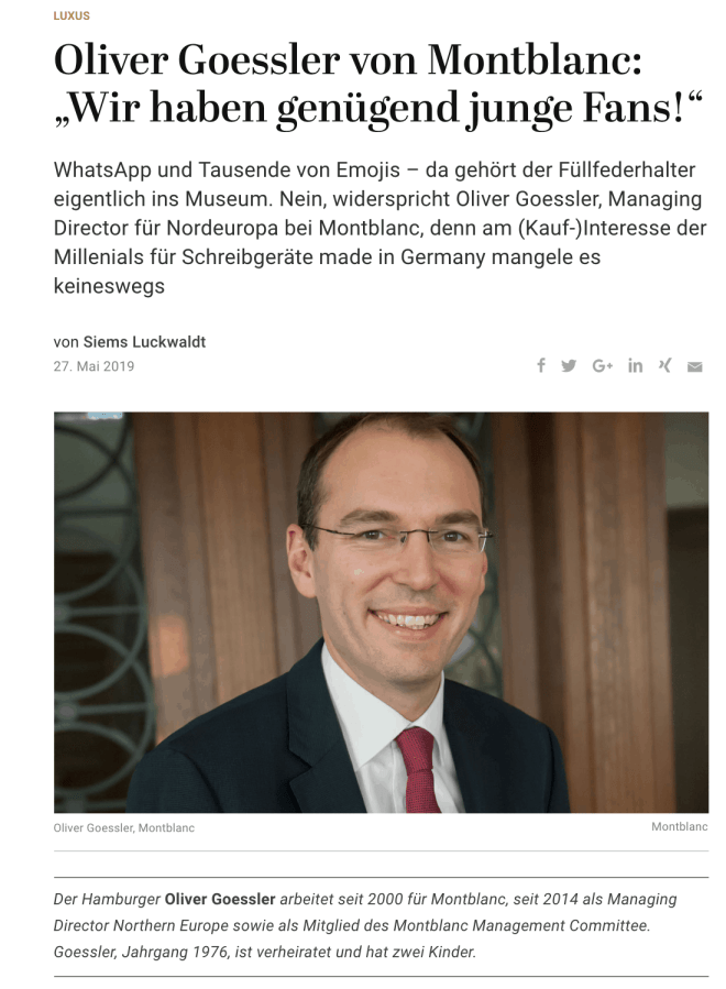 Interview: Oliver Goessler, Montblanc