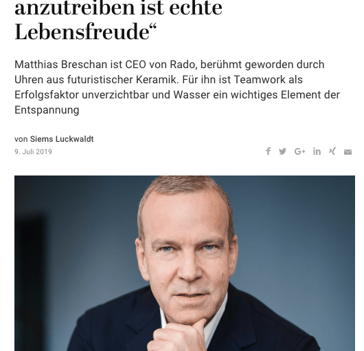 Zeitfragen: Matthias Breschan, Rado (für Capital.de)
