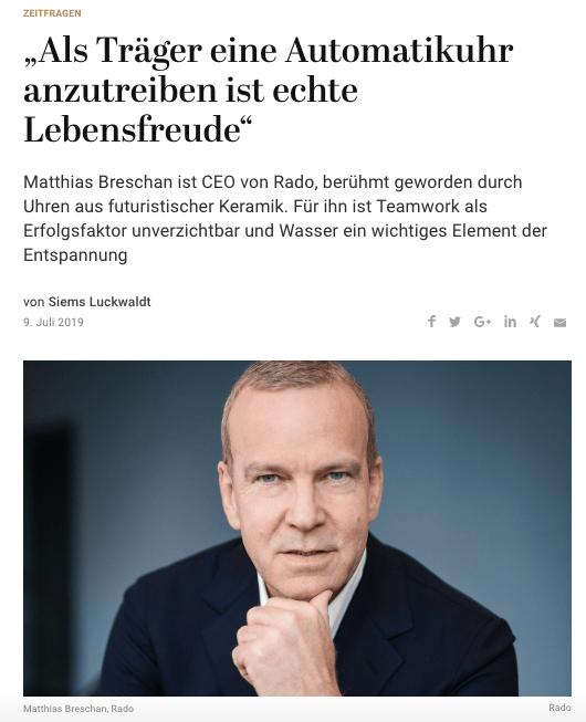 Zeitfragen: Matthias Breschan, Rado