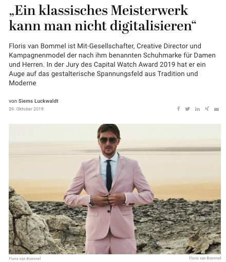 Capital Watch Award 2019: Meet the Jury – Floris van Bommel (für Capital.de)