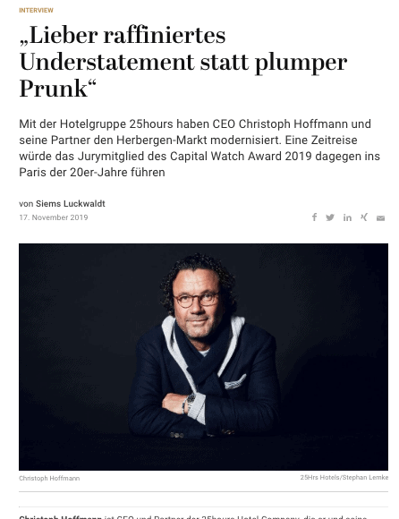 Capital Watch Award 2019: Meet the Jury – Christoph Hoffmann, 25Hrs Hotels (für Capital.de)