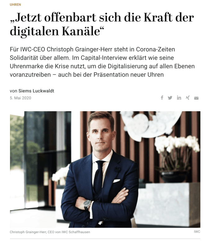 Interview: Christoph Grainger-Herr, IWC (für Capital.de)