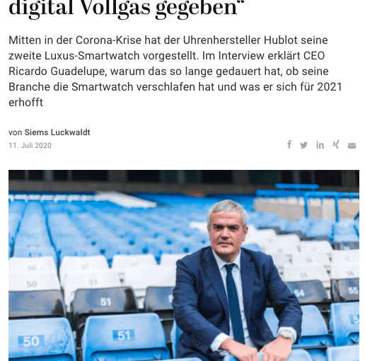 Interview: Ricardo Guadelupe, Hublot (für Capital.de)