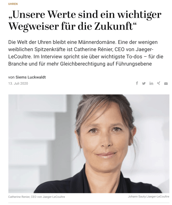 Interview: Catherine Rénier, Jaeger-LeCoultre (für Capital.de)
