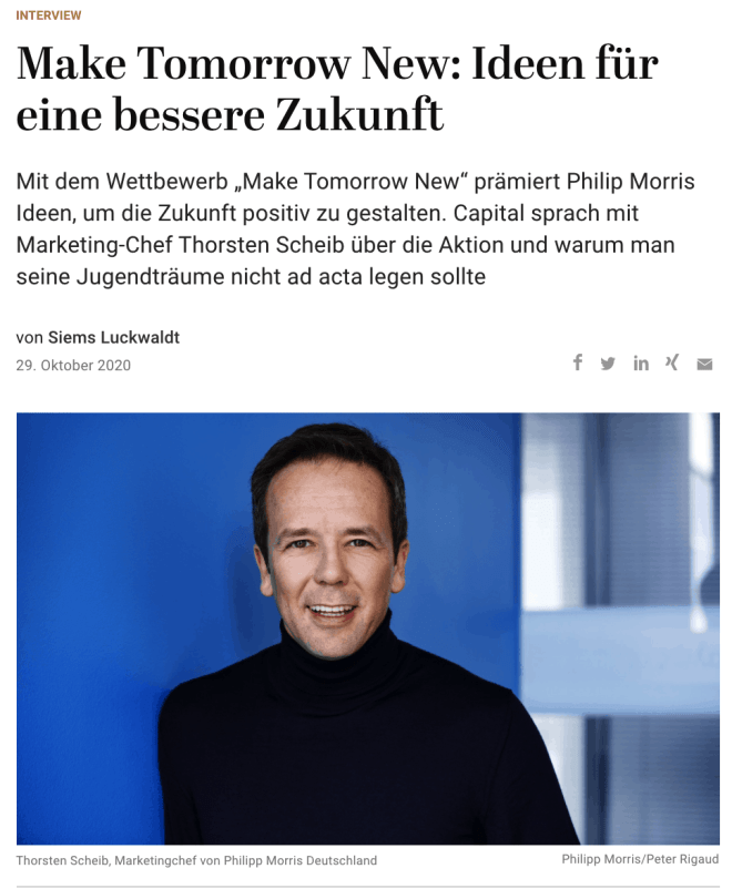 Interview: Thorsten Scheib, Philip Morris Deutschland (für Capital.de)