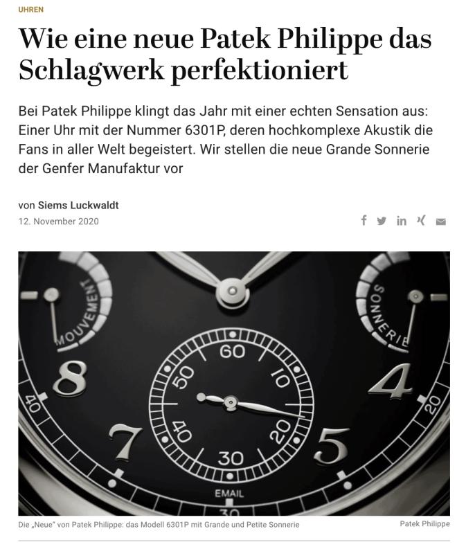 Uhrenpremiere: Grande Sonnerie 6301P von Patek Phillippe (für Capital.de)