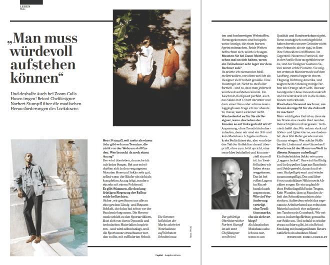 Interview: Norbert Stumpfl, Brioni (für Capital)