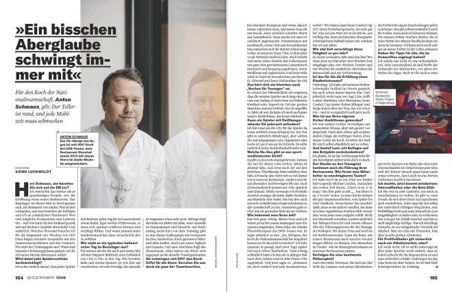 Interview: Anton Schmaus, Koch der Nationalmannschaft