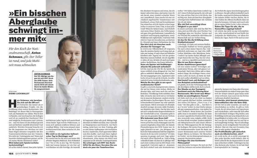Interview: Anton Schmaus, Koch der Nationalmannschaft (für Business Punk)