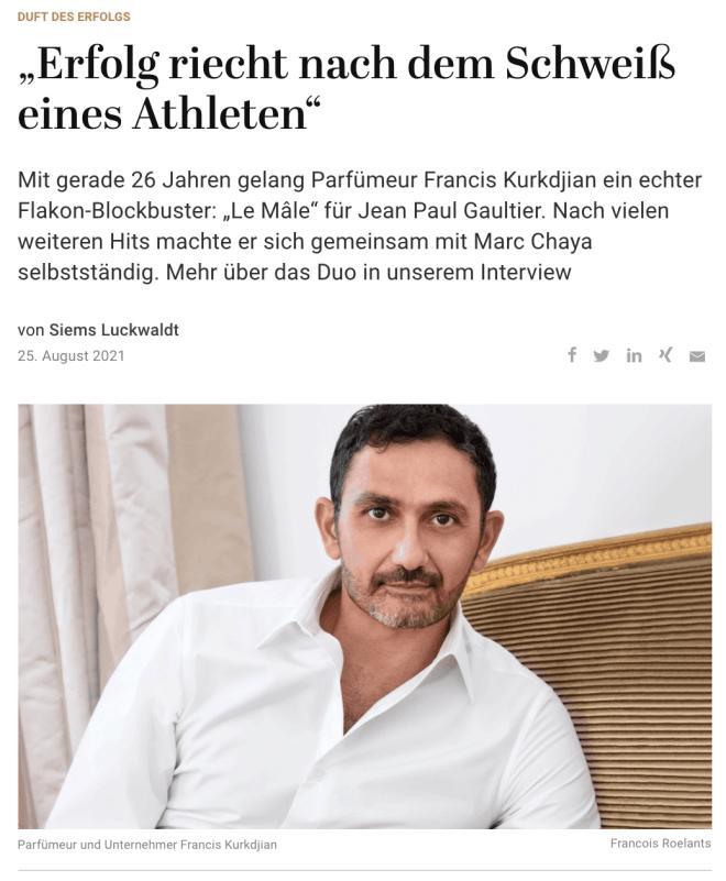 Duft des Erfolgs: Francis Kurkdjian (für Capital.de)