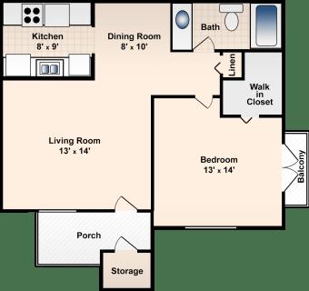 1 Bed / 1 Bath / 670 sq ft / Deposit: $300 / Rent: $585